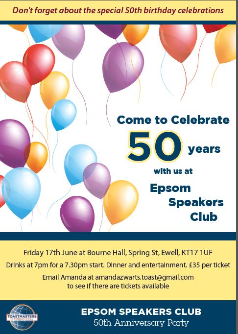 Epsom Speakers 50th