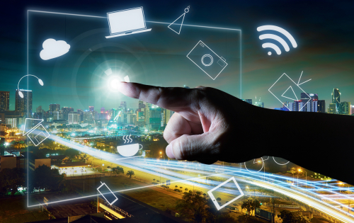 Graphicstock-man-touching-illustrating-social-media-presentation-with-his-finger-on-virtual-screen-cyber-concept-background-city-skyline-background_H_gOIiDgsg