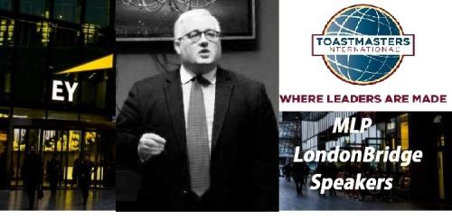 Paul Carroll with MLP London Bridge Speakers &TM logo cut B&W